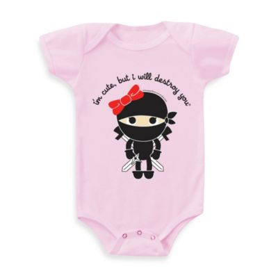 Flavorkids by Paperflavor Pink Girl Ninja Size 3-6 Months Bodysuit