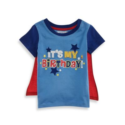 "Kidtopia Size 18M ""It's My Birthday!"" Tee with Cape in Red"