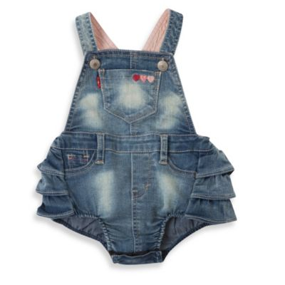 Levi's® Size 6-9M Dora Denim Romper in Iced Blue
