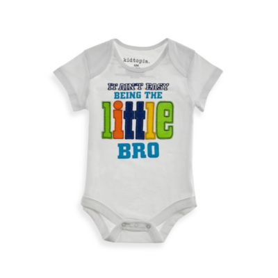 Kidtopia Size 9M It Ain't Easy Being the Little Bro Bodysuit in White