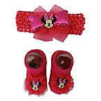 Minnie Mouse Head Wrap and Bootie Set