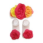 Rising Star Head Wrap & Bootie Set with Multi Flower