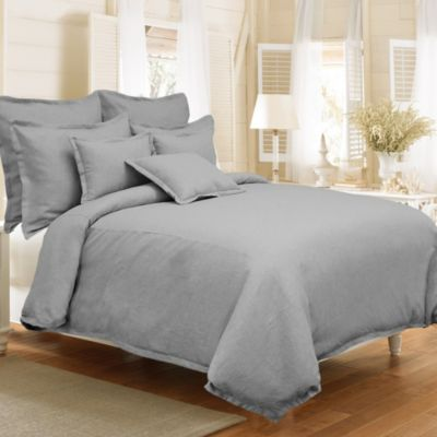 Veratex Gotham Full/Queen 100% Linen Reversible Duvet Cover Set in Stone
