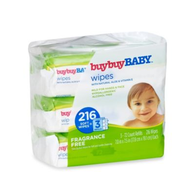 buybuyBABY® 216-Count Fragrance Free Wipes with Natural Aloe & Vitamin E (3 Refill Packs)