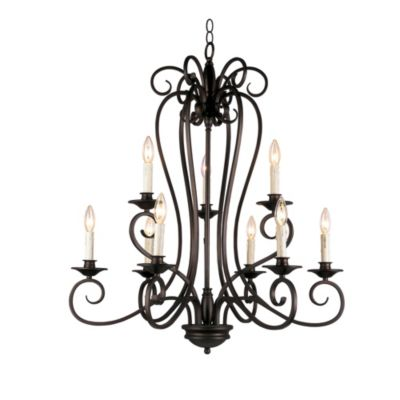 Bel Air Victorian Open Cage 2-Tier 9-Light Chandelier