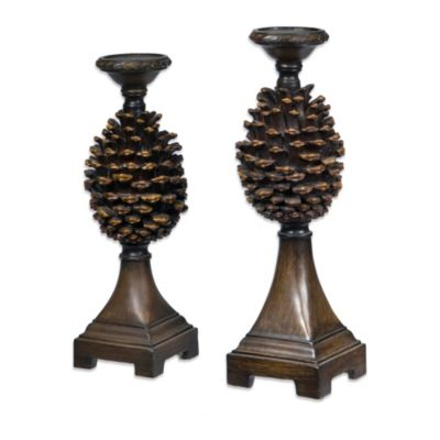 Crestview Collection Pine Bluff Pinecone Candleholder Set