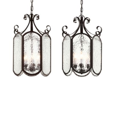 Bel Air Ice Glass Foyer 6-Light Pendant in Black Finish
