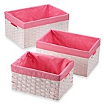 Redmon 3-Piece Basket Storage Set with Pink Liners in White