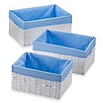 Redmon 3-Piece Basket Storage Set with Blue Liners in White