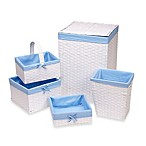 Redmon 5-Piece Hamper Set with Blue Liners in White