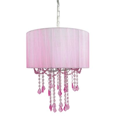 Tadpoles 1-Bulb Shaded Chandelier in Pink
