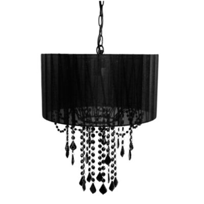 Tadpoles 1-Bulb Shaded Chandelier in Black