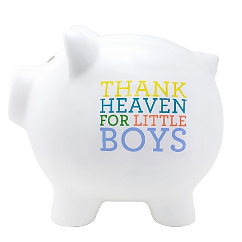 Buy about face designs thank heaven for little boys large ceramic piggy bank from bed bath beyond - Ceramic piggy banks for boys ...