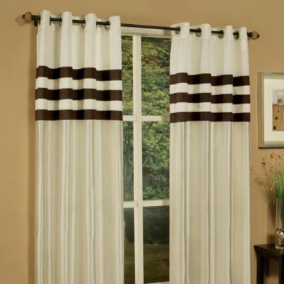 Faux Silk Grommet Top 84-Inch Window Curtain Panels in Sea Mist (Set of 2)
