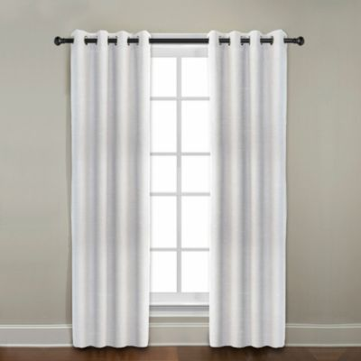 CityLinen Linen 84-Inch Grommet Window Curtain Panel in Gray