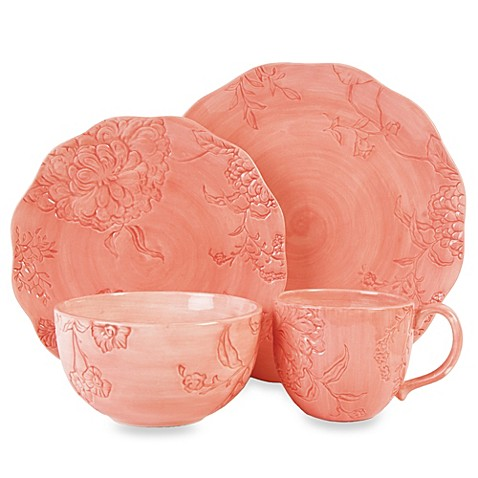 Edie Rose by Rachel Bilson Hydrangea 4-Piece Place Setting in Coral