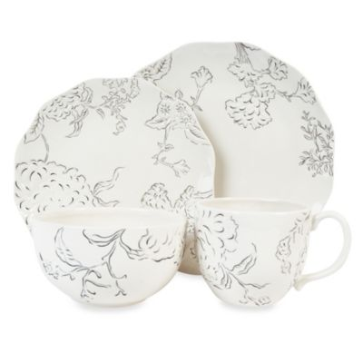 Edie Rose by Rachel Bilson Hydrangea 4-Piece Place Setting in Black and White