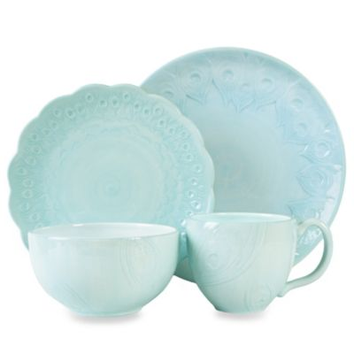Edie Rose by Rachel Bilson Peacock 4-Piece Place Setting in Turquoise