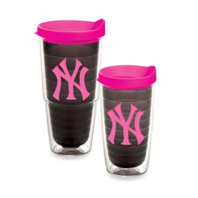 Tervis® MLB New York Yankees Emblem 16-Ounce Tumbler with Lid in Quartz/Neon Pink