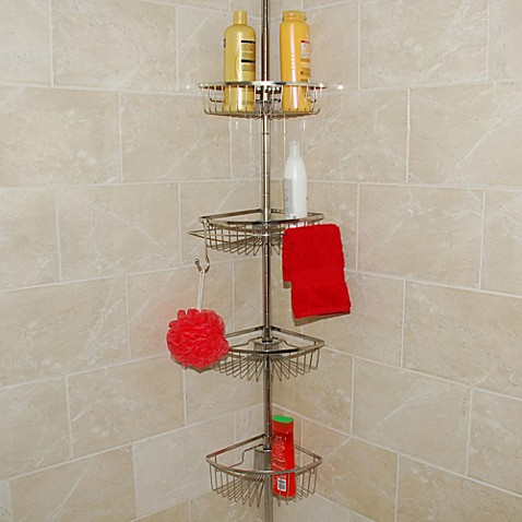 buy stainless steel tension pole shower caddy from bed bath beyond. Black Bedroom Furniture Sets. Home Design Ideas