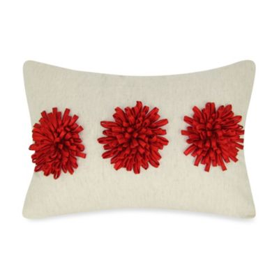Satin Tape Dahlia Oblong Throw Pillow in Red