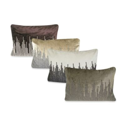 NYC Velvet Oblong Throw Pillow in Grey