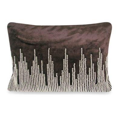NYC Velvet Oblong Throw Pillow in Chocolate