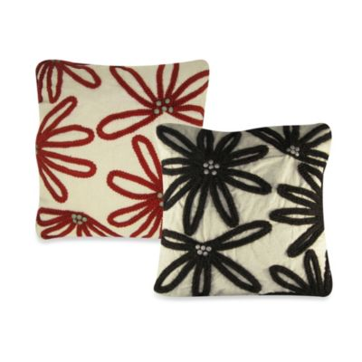 Wool Floral Embroidered Square Throw Pillow in Chocolate