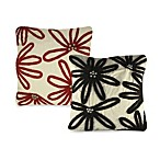 Wool Floral Embroidered Square Toss Pillow