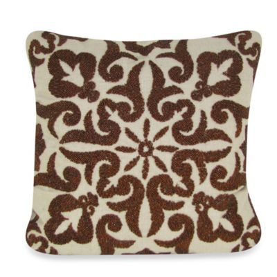 Damascus Hand Beaded Square Throw Pillow in Copper