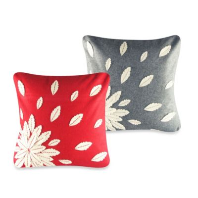 Felt Floral Applique Square Throw Pillow in Grey