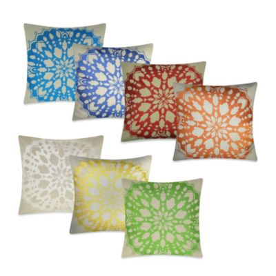 Rangoli Square Throw Pillow in Green