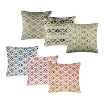 Oval Embroidered Square Toss Pillow