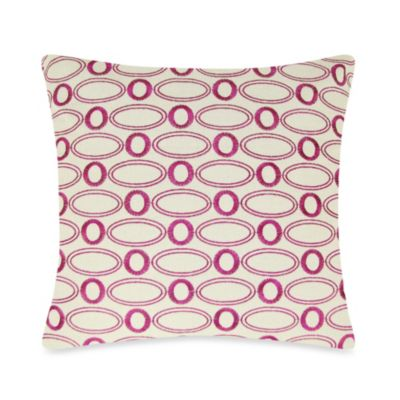 Oval Embroidered Square Throw Pillow in Fuchsia