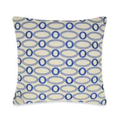Oval Embroidered Square Throw Pillow in Blue