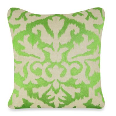 Ikat Detail Square Throw Pillow in Green