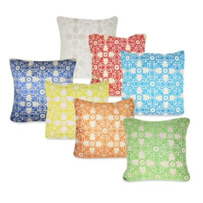 9 Motif Square Throw Pillow in Ivory