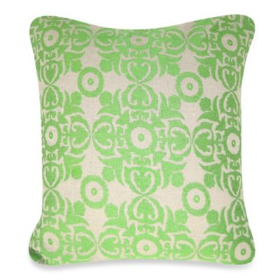 9 Motif Square Throw Pillow in Green