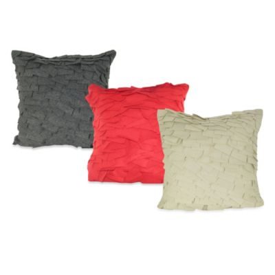 Felt Ruffle Square Toss Pillow