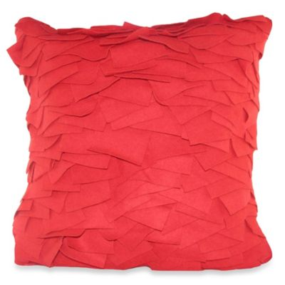 Felt Ruffle Square Throw Pillow in Red