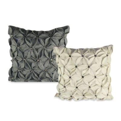 Felt Poinsettia Jewel Square Throw Pillow in Grey