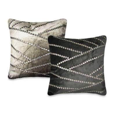 Asymmetric Jewel Square Throw Pillow in Black