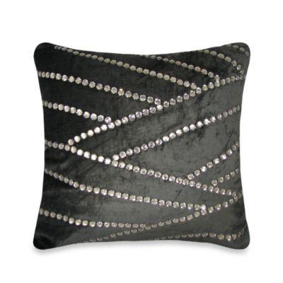 Asymmetric Jewel Square Throw Pillow in Black