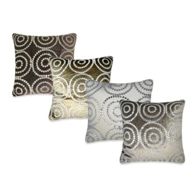 Circle Jewel Square Throw Pillow in Grey