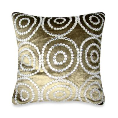 Circle Jewel Square Throw Pillow in Light Brown