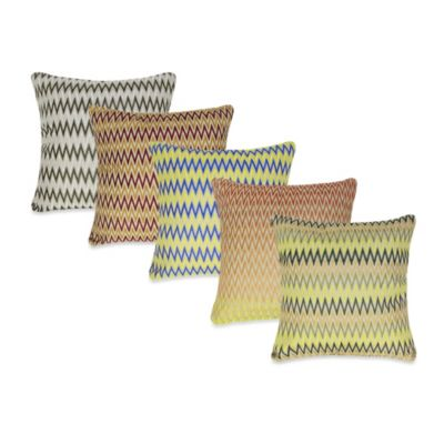 """W"" Stripe Square Throw Pillow in Yellow"