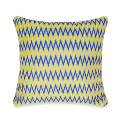 """W"" Stripe Square Throw Pillow in Blue/Yellow"