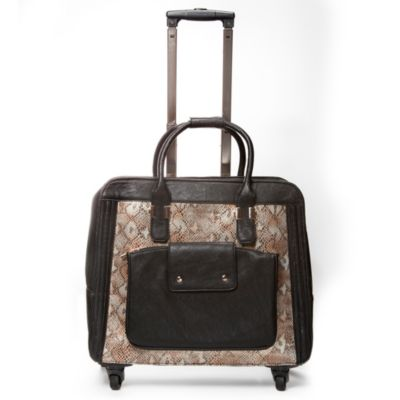 Hang Accessories Snake Print Trolley Bag with 360-Degree Wheels in Blue/Gold