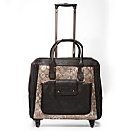 Hand Accessories Snake Print Trolley Bag with 360-Degree Wheels in Blue/Gold