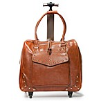 Hand Accessories Studded Trolley Bag with 360-Degree Wheels in Cognac